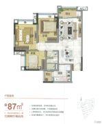 雅居乐万科热橙3室2厅1卫87平方米户型图