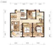 永强朗城公馆3室2厅1卫88平方米户型图