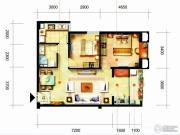 凯隆橙仕公馆2室1厅1卫81平方米户型图