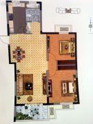 孔望尚府2室2厅1卫105平方米户型图