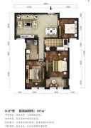 东湖方舟3室2厅1卫107平方米户型图
