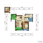 弘阳广场2室2厅1卫75平方米户型图