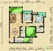 滨江景城2室2厅2卫97平方米户型图