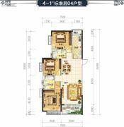 恒大华府3室2厅2卫129平方米户型图