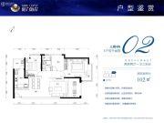 格力海岸2室2厅1卫102平方米户型图