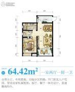 南海之滨1室2厅1卫64平方米户型图