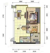 昆仑国际2室2厅1卫100平方米户型图
