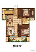 万国园白金汉府2室2厅1卫93平方米户型图