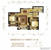 金世纪运河丽园2室2厅1卫84平方米户型图