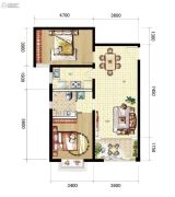 山海城邦・马街摩尔城2室2厅2卫0平方米户型图