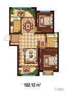 万国园白金汉府2室2厅1卫102平方米户型图