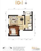 上上城青年社区二期2室1厅1卫54平方米户型图