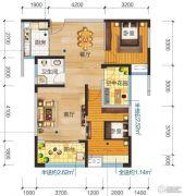 清江润城・悦邸(四期)3室2厅1卫88平方米户型图