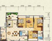 云山峰境花园4室2厅2卫130平方米户型图