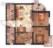华富・瑞士名居3室2厅1卫90平方米户型图