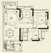 广州绿地城3室2厅1卫85平方米户型图