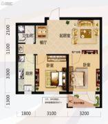 唐轩北廷2室2厅1卫69平方米户型图