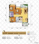 华茵・桂语3室2厅2卫92平方米户型图
