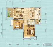 财信沙滨城市2室2厅1卫64平方米户型图