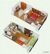 悠族2室2厅1卫43平方米户型图