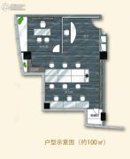 佳源广场2室1厅0卫100平方米户型图