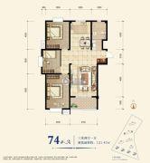 教授花园新里程3室2厅1卫121平方米户型图