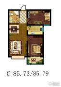 傲湖铂岸2室2厅1卫85平方米户型图