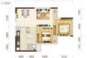 佳年华广场2室2厅1卫65平方米户型图