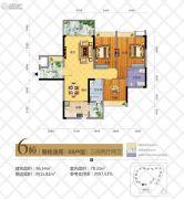 华茵・桂语3室2厅2卫96平方米户型图
