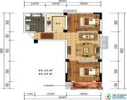 轩华・万华庭2室1厅1卫85平方米户型图