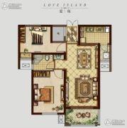 �|方米兰国际城2室2厅1卫88平方米户型图