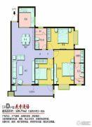 上海花园・新外滩3室2厅2卫129平方米户型图