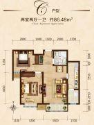 富力城2室2厅1卫86平方米户型图
