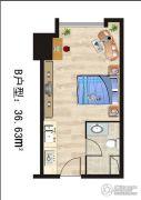 熙城都会1室1厅1卫36平方米户型图