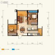 绿地中心云玺4682室2厅1卫78平方米户型图