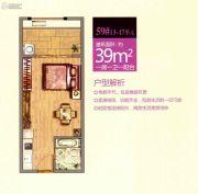 龙旺康桥丹堤1室1厅1卫39平方米户型图