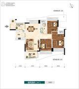 广佛新世界3室2厅1卫85平方米户型图