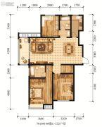 江山花园3室2厅2卫122平方米户型图