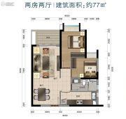 华标峰湖御境2室2厅1卫77平方米户型图
