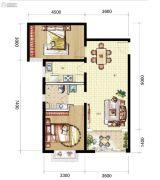 山海城邦・马街摩尔城2室2厅1卫87平方米户型图