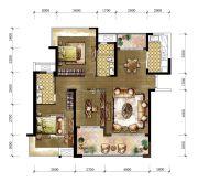 东城温泉里3室2厅2卫128平方米户型图