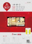 宝龙广场1室0厅1卫36平方米户型图