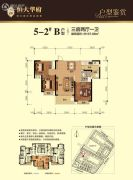 南宁恒大华府3室2厅1卫107平方米户型图