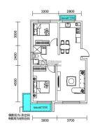千翔尚城2室2厅1卫94平方米户型图