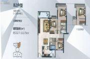 时代天韵3室2厅2卫112平方米户型图