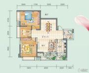 连山鼎府2室1厅1卫99平方米户型图