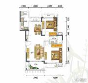 富力红树湾2室2厅1卫90平方米户型图