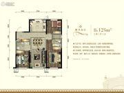 城建万科翡翠书院3室2厅2卫124平方米户型图