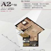 中南明珠1室2厅1卫48平方米户型图