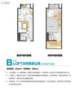 萝岗奥园广场1室2厅2卫48平方米户型图